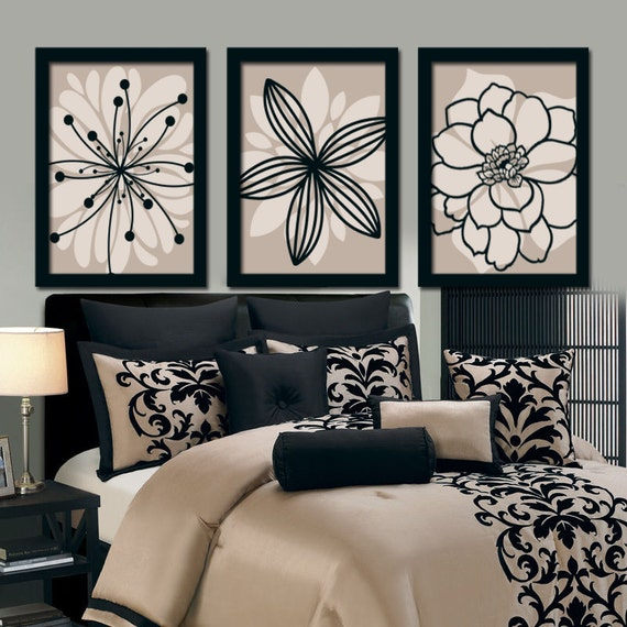 Beige Black Wall Art Bedroom Canvas Or Prints Bathroom Decor