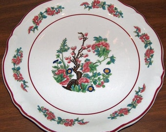 p7415: SHENANGO Dinner Plate Indian Tree Red Scalloped Edge Vintage Restaurant Hotel Ware China at Vintageway Furniture Dining Room Kitchen