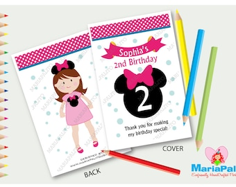 6 Minnie Mouse Coloring Books, Personalized Coloring Books, Birthday Party Favors, Minnie Pink Party  A1212