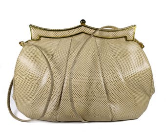Neiman Marcus by JUDITH LEIBER Vintage Creme Karung Snakeskin With Jewel Clasp Clutch