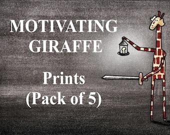 Motivating Giraffe Prints - Pack of 5