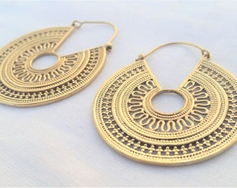 Brass Tribal Earrings, Brass Earrings, Gold Earrings, Boho Earrings, Ethnic Jewellery, Brass Jewellery