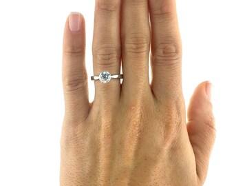 Diamond Engagement Ring, 1 Carat Diamond Ring, 14K White Gold Ring, Engagement Gift For Her, Diamond Gold Ring, Solitaire Engagement Ring
