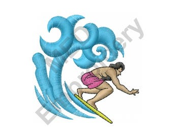 Surfer On Waves - Machine Embroidery Design