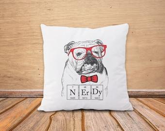 English Bulldog pillow-nerdy bulldog pillow cover-funny dog pillow case-cushion cover-dog pillow-dog lovers gift-by NATURA PICTA-NPCP079