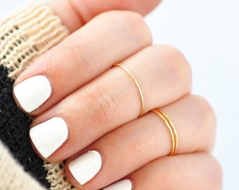 Gold Knuckle Ring: Solid 10K Yellow Midi Ring, Gifts for Teenagers