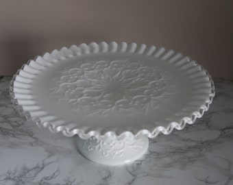 Fenton Silver Crest Cake Stand in Spanish Lace Pattern