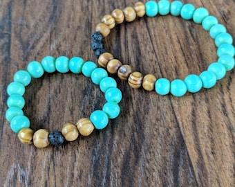 Color Block Bracelet - Teal & Wood - Children's Size