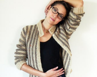 1960s Knit Striped Vintage Cardigan / Chunky Italian Vintage Sweater in Mocha Stripes / Hand Knit Vintage Wool Cardigan