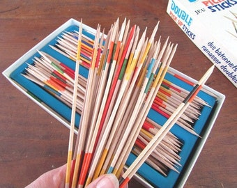 Pick Up Sticks Game Vintage Double Wooden Pick Up Sticks Family Game Night Vacation Fun Craft Supply