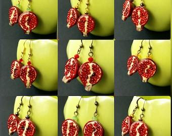 earrings grenades, earrings from polymer clay grenades,earrings for women, earrings for girls,pomegranate, handmade, jewelry, earrings
