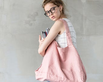 Large linen tote bag in blossom-peach / linen beach bag