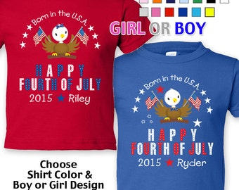 Happy Fourth of July - Born in the USA - T-Shirt - Girls - Boys - Toddler - Personalized with Name and Year
