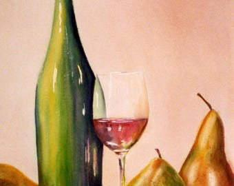 Pears and Wine signed print of a watercolor by Bonnie White