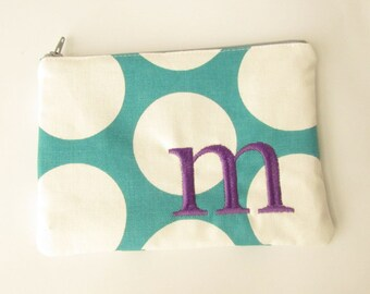 Turquoise Cosmetic Bag - Teal Dot Pouch with initials - Monogrammed Makeup bag - Bridesmaid clutches- Small