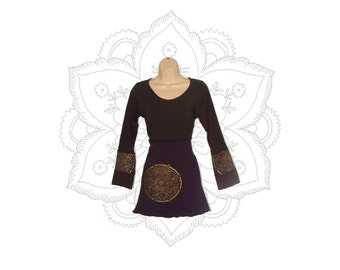 Organic Clothing - Organic Tunic - Top mandala prints- Handmade to order with organic cotton and hemp jersey - Custom made to order