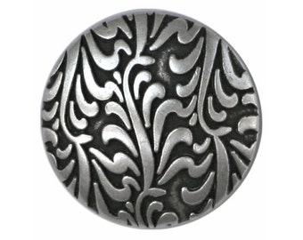 3 Fronds 7/8 inch ( 22 mm ) Metal Buttons Antique Silver Color