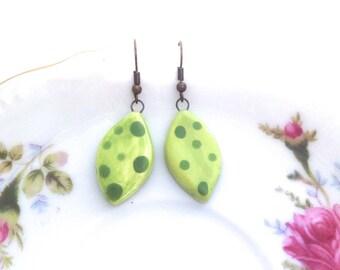 Ceramic Green Leaf Earrings. Woodland Treasures. Vines. Glazed Ceramic. Under 15. Vintage Style Brass Hooks. In the Garden. Gardening Lover