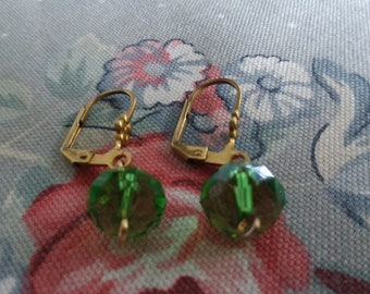 Vintage Brass And Green Swarovski Crystal Earrings