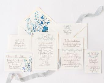 Bluebell Wedding Invitation - Classic Wedding Invitation - Botanical Envelope Liners - Blue Wedding Invitation - SAMPLE SET