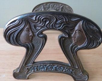 Fabulous Art Nouveau Goddess Lady-Cast Iron & Brass Expandable Book Rack - CJO Judd #9759 **FREE SHIPPING**