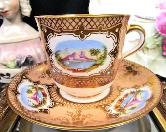 Antique c.1850 Coalport Tea Cup and Saucer Painted Scenes Pattern Teacup