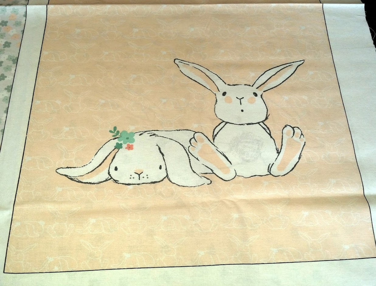 Bunny Fabric Panel by Magic Moon,100% Cotton Fabric by the Panel ...