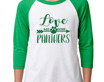 Youth Love Me Some Panthers Raglan - School Spirit - Panthers - Unisex 3/4 Sleeve Green/White Baseball Tee