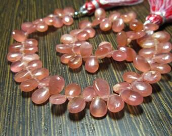 Rhodocrosite Smooth Pear Briolettes Destash Raspberry Pink