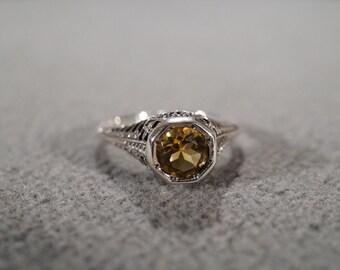 Vintage Sterling Silver Round Golden Citrine Fancy Scrolled Filigree Etched Band Ring, Size 7