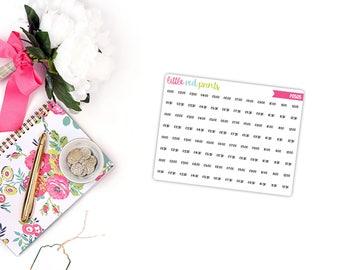 QUARTER SHEET - Neutral Time Dot Planner Stickers for the Erin Condren Life Planner, Script Sticker, Planner Sticker - [P0505]