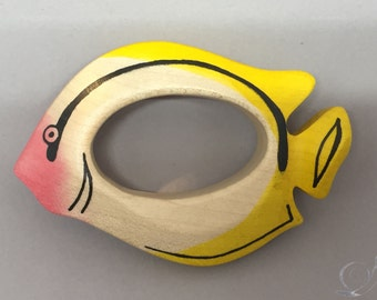 Toy Fish Gripping ring Tropical fish Wooden colorful | Size: 10,0 x 6,5 x 2,0 cm (bxhxs) approx. 30 gr.