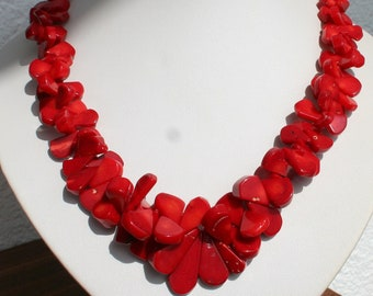 Coral Necklace, Red Bamboo Coral Necklace, Staement Necklace, Jewelry For Summer