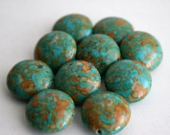 18 mm Mosaic Turquoise Coin Beads
