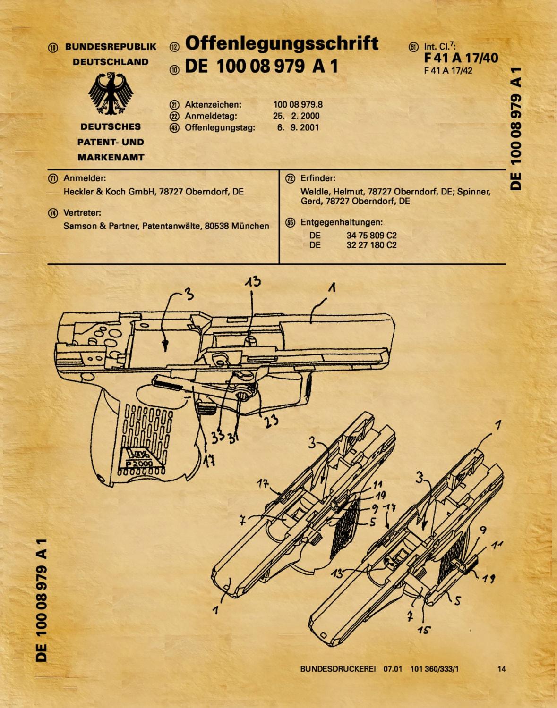 Patent 2001 H&K P2000 Pistol - German Patent - Heckler and Koch GmbH ...