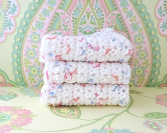 Crochet White with Pink and Blue Specks Wash Cloths/Face Cloths/Bath Cloths/Kitchen Cloths/Dish Cloths-100% Cotton- Set of 3 - Ready to Ship