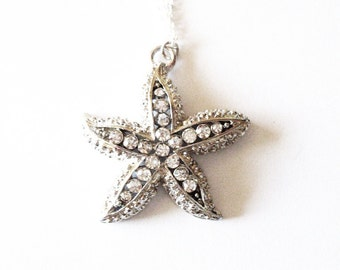 Beach Bridesmaid Necklace Silver Rhinestone Starfish Pendant Jewelry Mermaid Charm Bride Bridal Party Destination Wedding Womens Gift