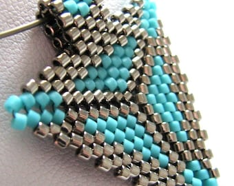 Southwestern Triangle Pendant in Turquoise and Steel (2322) - A Sand Fibers Made-to-Order Creation