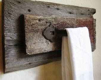Barn wood towel rack rustic design