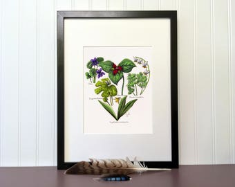 Spring flowers heart, 10 x 8 inches, Handmade original drawing with color marker and ink