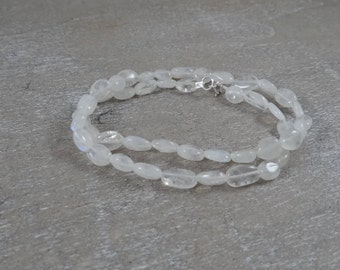 White Moonstone Wrap Bracelet