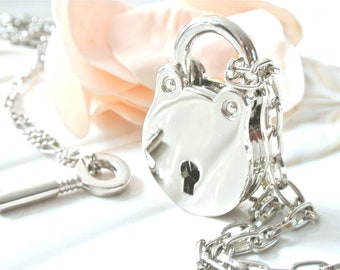 Silver Key and Lock Necklace. Round Padlock Pendant Necklace.