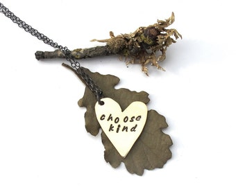 Brass and Silver Heart Pendant - Choose Kind