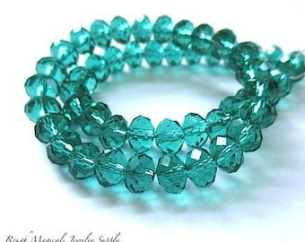 Teal Emerald Green Beads, Rondelles 6mm x 5mm Beads, Turquoise Spacer Beads Faceted Glass Crystals, Sparkly Sparkle Beads - 25 Pieces SP757