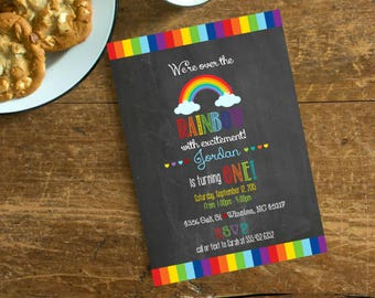 Over the Rainbow Chalkboard First Birthday, Girls Birthday Party Personalized Invite, Rainbow Birthday Invite Digital File Listing #987