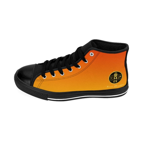 By King Monkey Products Mens High-Top Sneakers - Fire Orange