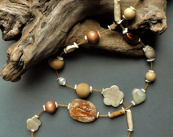 Long necklace, natural necklace, neutral colors necklace, beach necklace, Cream, brown, natural materials, stone, mother of pearl