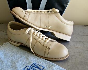 Vintage Endicott Johnson Bowling Shoes | Women's Beige Leather Rockabilly Shoes | Leather Sliding Sole | Retro Women's Size 10 Bowling Shoes