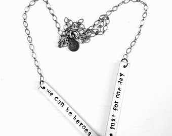 David Bowie Jewelry // Heroes Necklace // Stamped Metal Jewelry // Pop Music Jewelry // Statement Necklace // Chain Necklace
