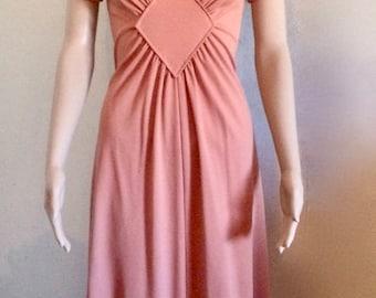 Mauve Pink Peach Maxi 70's Dress